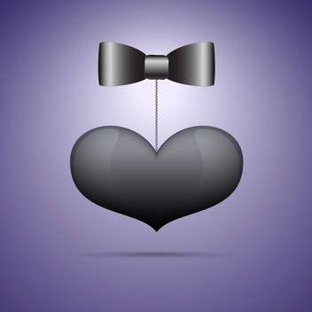 Vector illustration of black bow tie and heart on purple background - Free vector #125749