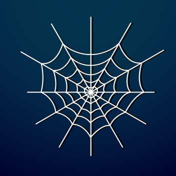 Vector illustration of white spider web on dark blue background - Free vector #125769