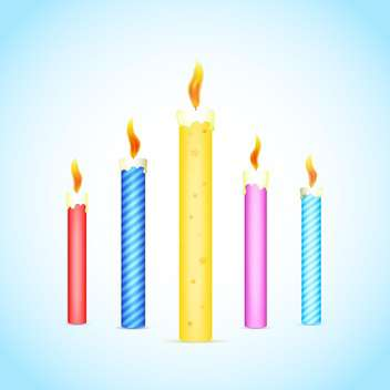 Vector illustration of colorful burning candles on blue and white background - Free vector #125789
