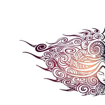 Vector background with beautiful abstract female face on white background - vector gratuit #125839