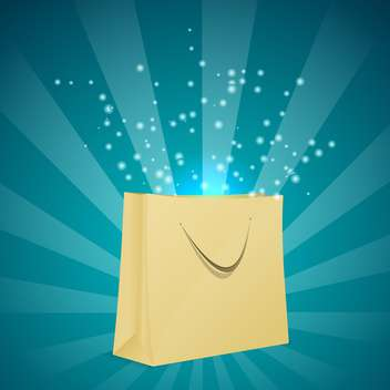 Vector illustration of magic shopping bag with sparkles on blue light background - vector gratuit(e) #125849