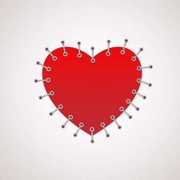 Vector illustration of red heart with seam on white background - бесплатный vector #125879