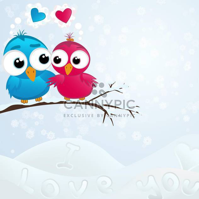 Vector illustration of cute birds couple in love sitting on branch in winter - Free vector #125999