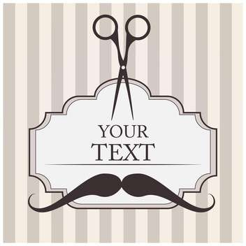 Vector barbershop background with mustache and scissor - vector gratuit #126029
