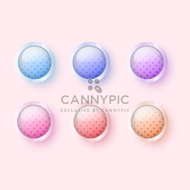 Vector illustration of six round colorful glossy buttons on pink background - Free vector #126149