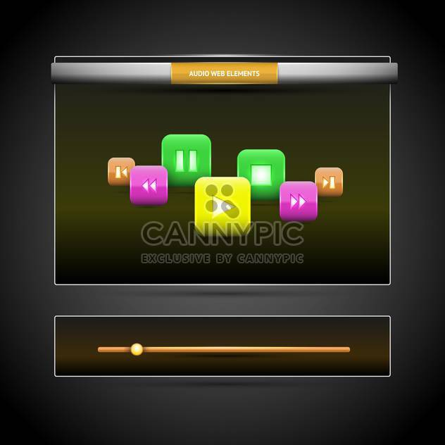 Vector illustration of colored rounded square shapes buttons with reflection on black background - Free vector #126159