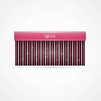 Vector background with striped gift box on white background - vector gratuit #126239