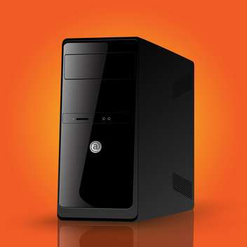 Vector illustration of black computer case on orange background - vector gratuit #126249