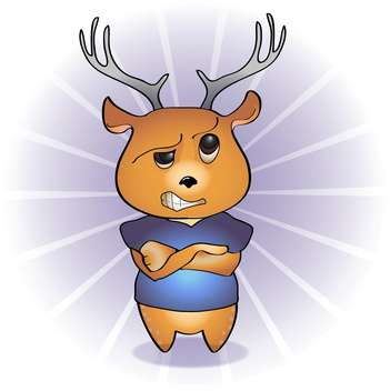 Vector illustration of disgruntled cartoon deer - vector gratuit(e) #126259