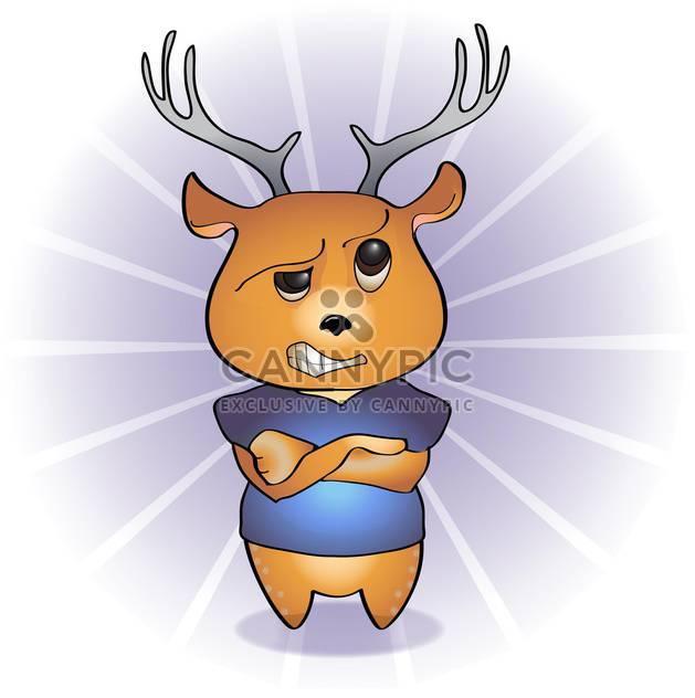 Vector illustration of disgruntled cartoon deer - Free vector #126259