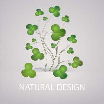 Vector illustration of grey background with green clovers - Free vector #126309