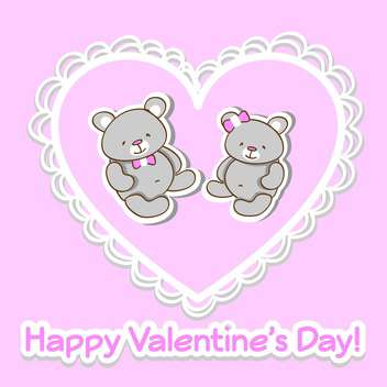 Vector pink greeting card for Valentine's day with two cute teddy bears in heart - vector gratuit #126359