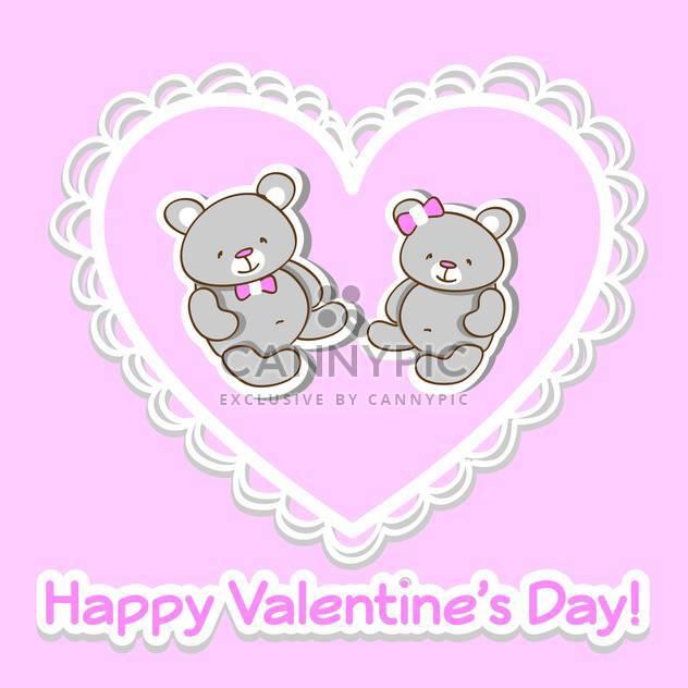 Vektor Rosa Grußkarte zum Valentinstag mit zwei niedlichen Teddybären im Herzen - Kostenloses vector #126359