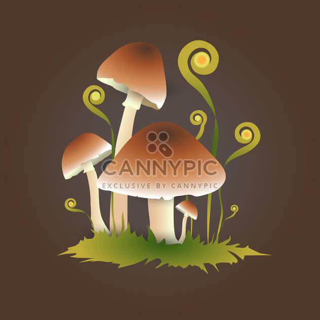 Vector illustration of autumn mushrooms on brown background - Free vector #126449