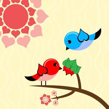 Vector illustration with birds in love for valentine card - vector gratuit #126459