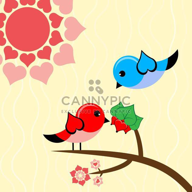Vector illustration with birds in love for valentine card - Free vector #126459