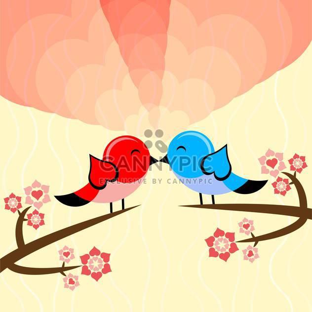 Vektor-Illustration mit Vögeln, Liebe Valentinskarte - Kostenloses vector #126479