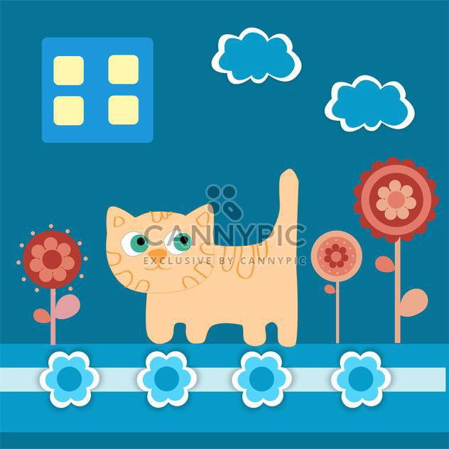 Vector illustration of blue background with cat and flower - Free vector #126499