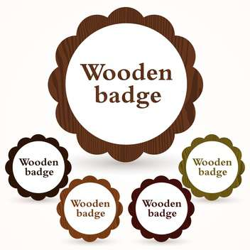 Vector set of round wooden badges on white background - Free vector #126559