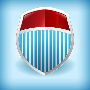 Vector illustration of metal colorful shield on blue background - vector gratuit(e) #126639
