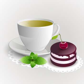 Cup of green tea with cherry cake on white background - vector gratuit #126659