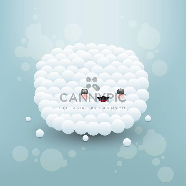 Vector illustration of cute face made of white bubbles - Free vector #126739