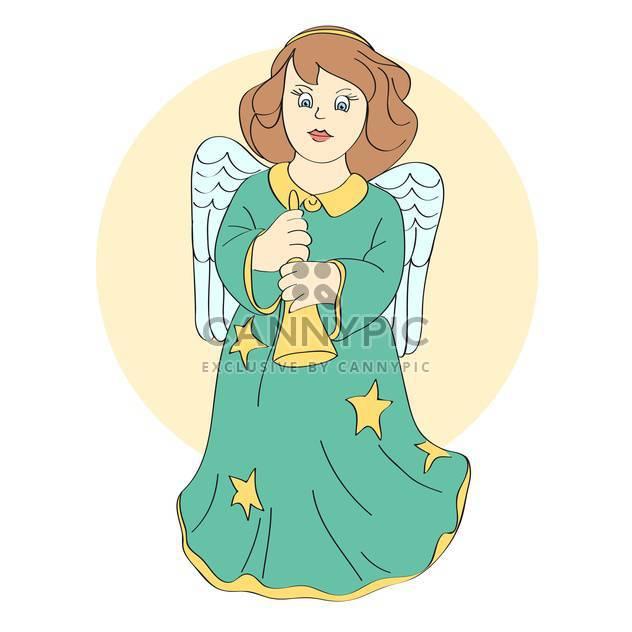 Vektor-Illustration der süße Engel mit Flügeln und Glocke in Händen - Kostenloses vector #126799