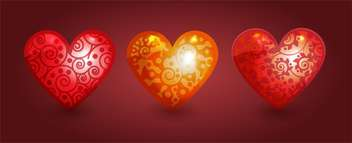 Three colorful hearts on red background - бесплатный vector #126809