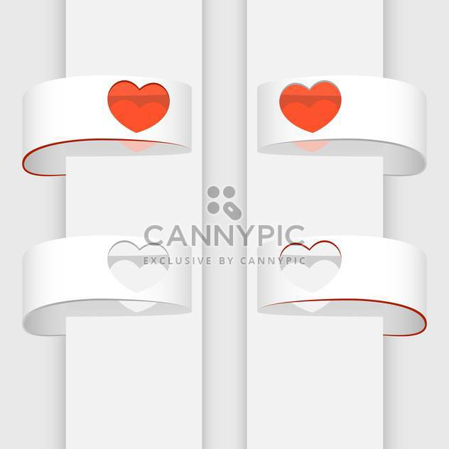 Vector illustration of white banners with red hearts - Free vector #126829