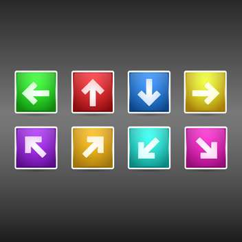 Vector set of arrows colorful buttons on dark background - Free vector #126839