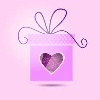 Vector Valentine gift box on pink background - vector gratuit(e) #126849