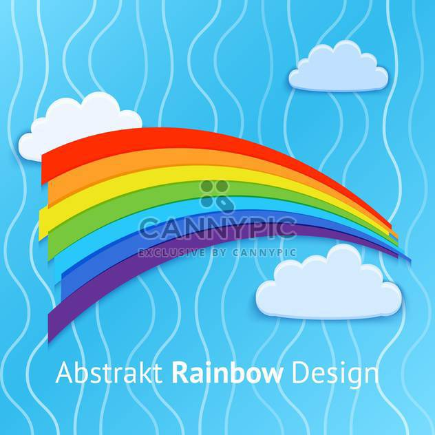 Vector background with colorful rainbow on blue sky background - Free vector #126909