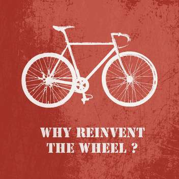 Concept vector illustration with bicycle on red background - Free vector #126979