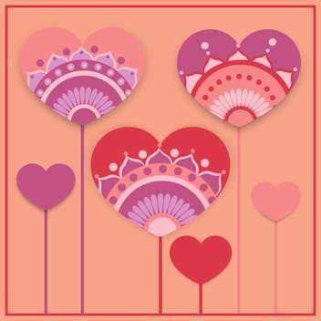Vector greeting card with hearts for Valentine's day - vector gratuit(e) #127019