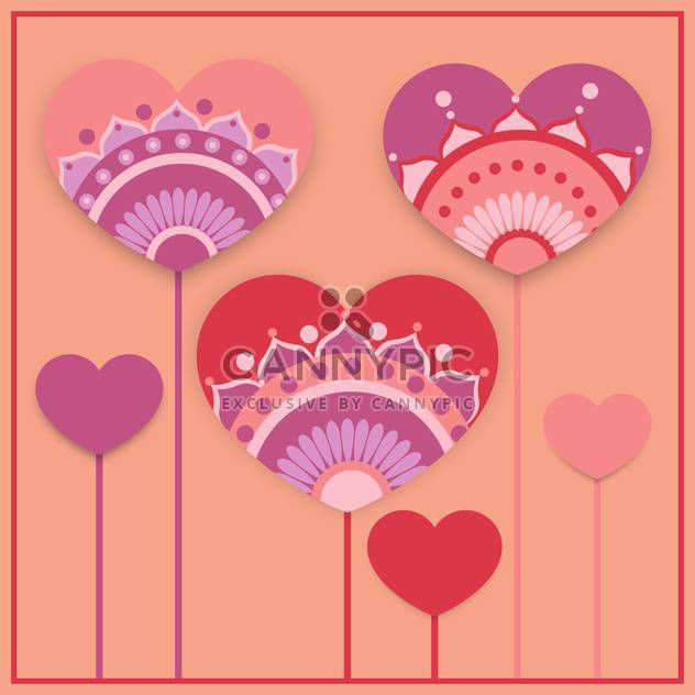 Vector greeting card with hearts for Valentine's day - Free vector #127019
