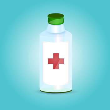 medicine bottle with red cross on blue background - vector gratuit #127089
