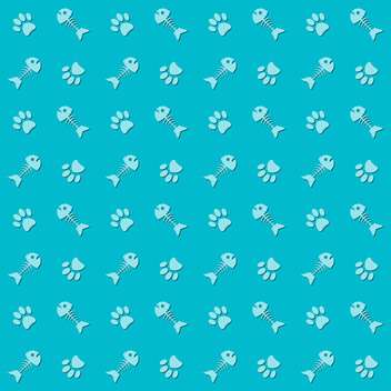 animal background with cat paw prints and fish bones - vector gratuit(e) #127209