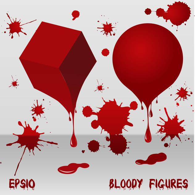 Bloody red art figures on white background - Free vector #127229