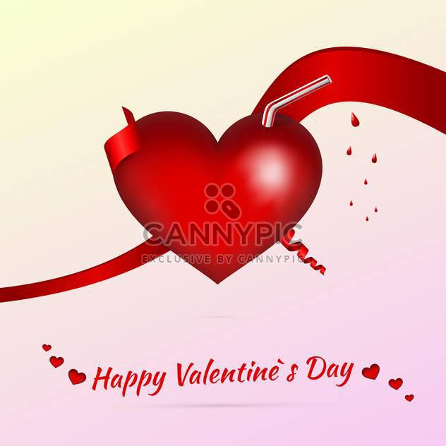 Vector Valentine background with heart shaped cocktail - Free vector #127289