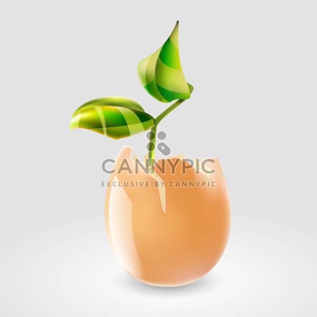 Vektor-Illustration der grüne Pflanze in Eierschale auf grauen Hintergrund - Kostenloses vector #127339