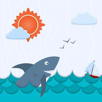 colorful illustration of seascape with shark and ship - vector gratuit #127439