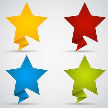 four colorful stars on white background - vector gratuit #127449