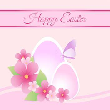 Happy Easter pink color Card - vector #127469 gratis