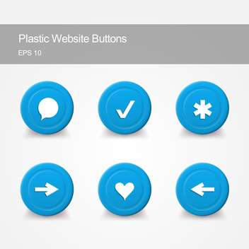 Plastic website buttons with round shaped icons on grey background - Free vector #127489