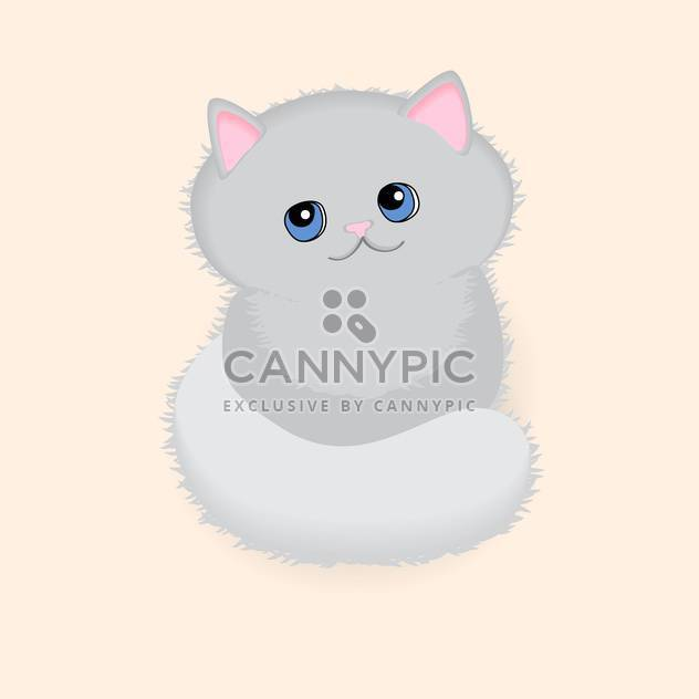 Pretty grey kitten with blue eyes on pink background - Free vector #127579