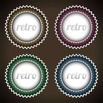 Vector set of round shaped retro labels on dark background - vector gratuit(e) #127589