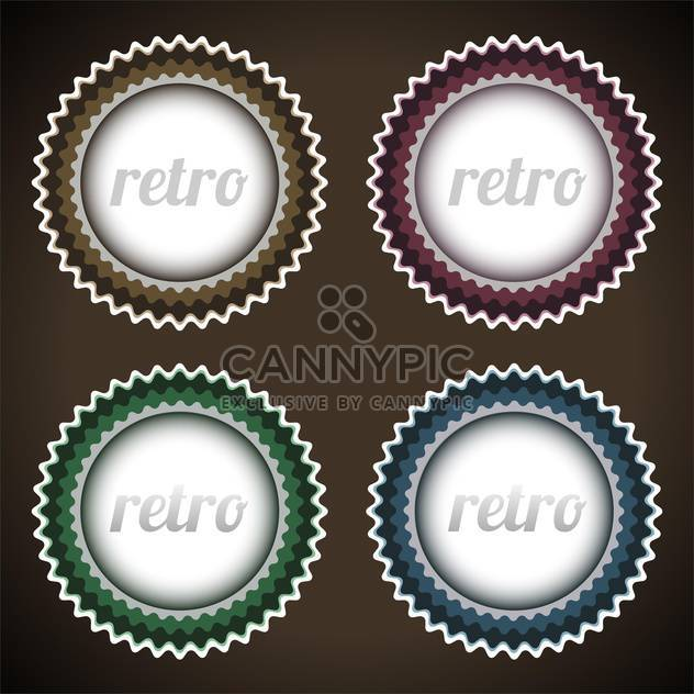 Vector set of round shaped retro labels on dark background - Free vector #127589