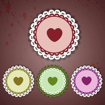 round shaped lace labels with heart on dark background - vector gratuit #127699