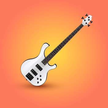 vector illustration of electric guitar on orange background - Free vector #127719