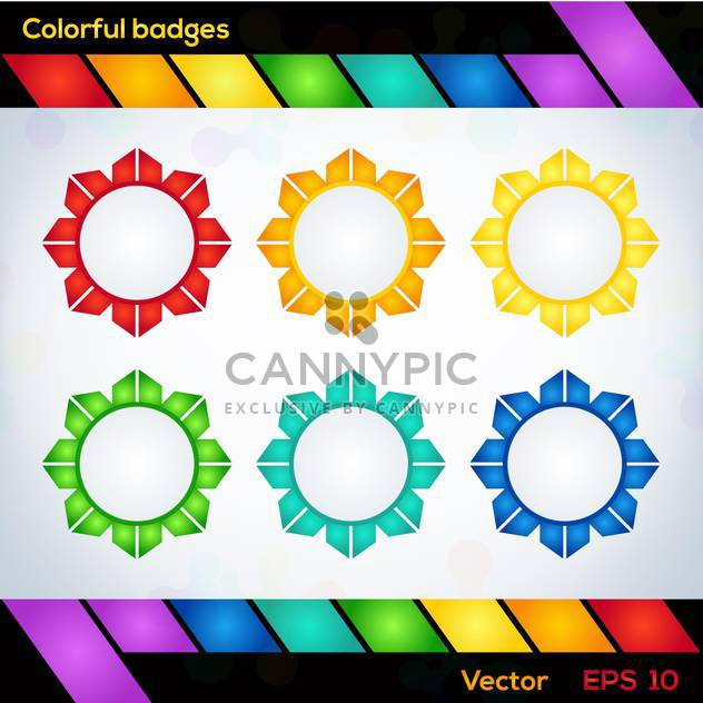 Colorful vector flower shaped badges - Free vector #127749